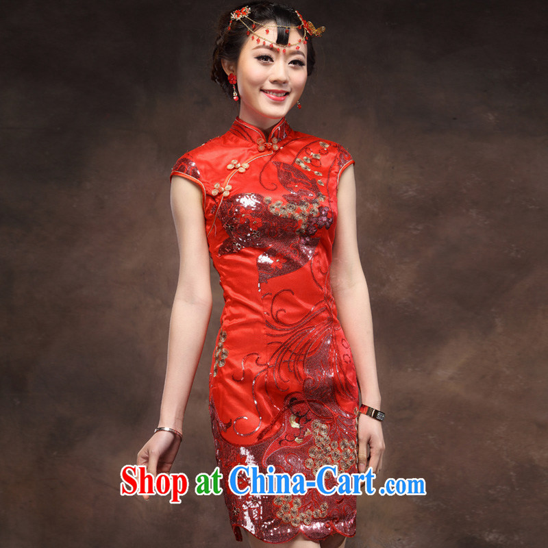 Toasting service 2014 new Bridal Fashion red marriage Chinese Antique short cheongsam embroidery back door red XXL