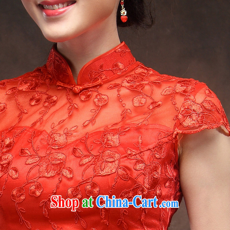 Toasting Service Bridal Fashion red dresses wedding dress skirt the doors 2014 new lace wedding dresses red XXL