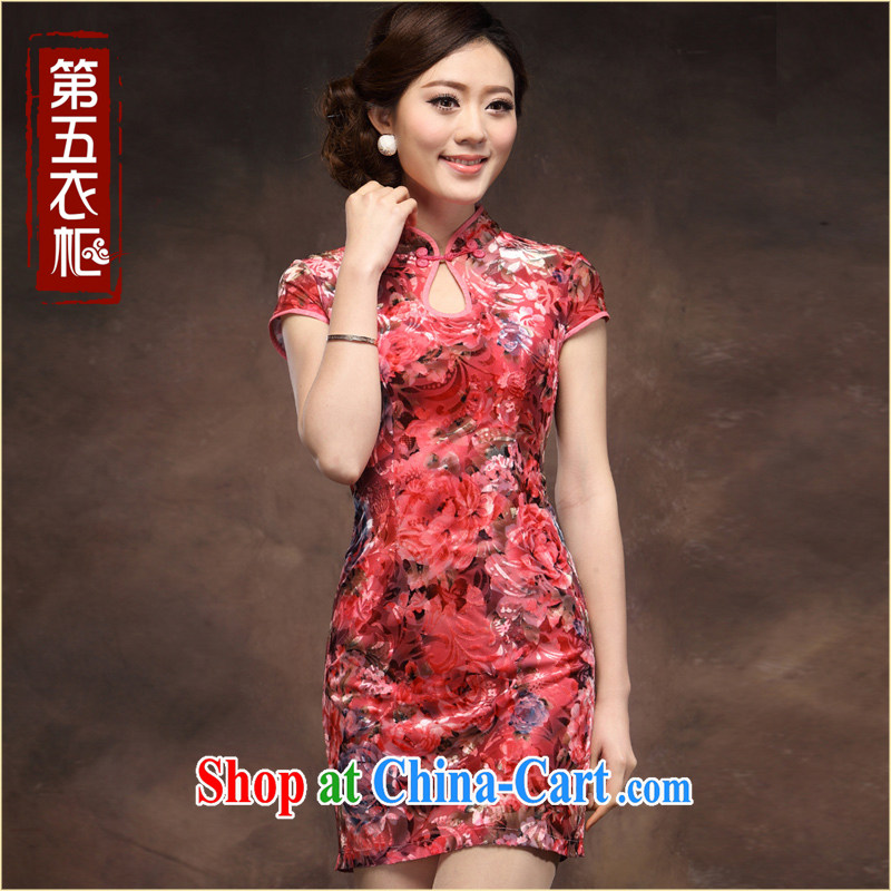 bride's mother married velvet cheongsam dress festive red, cultivating a short, middle-aged and older my mother-in-law wedding with saffron XXL