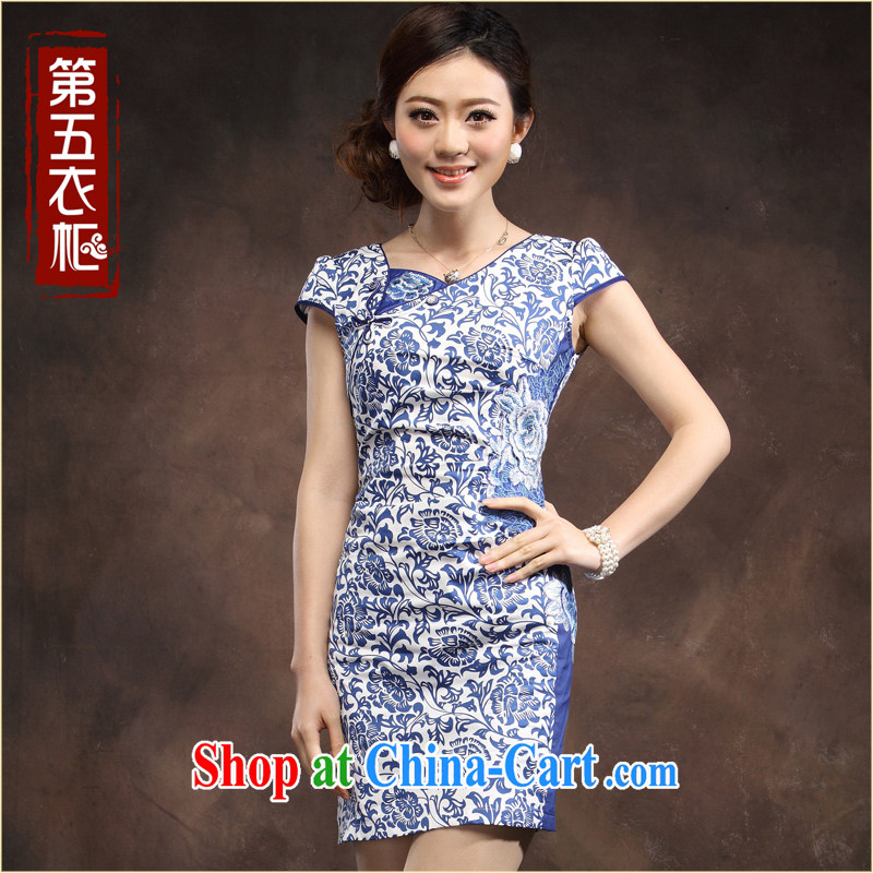 Classic Blue and white porcelain dresses 2014 new summer Chinese Chinese beauty, short-day Ki skirt dresses blue XXXL