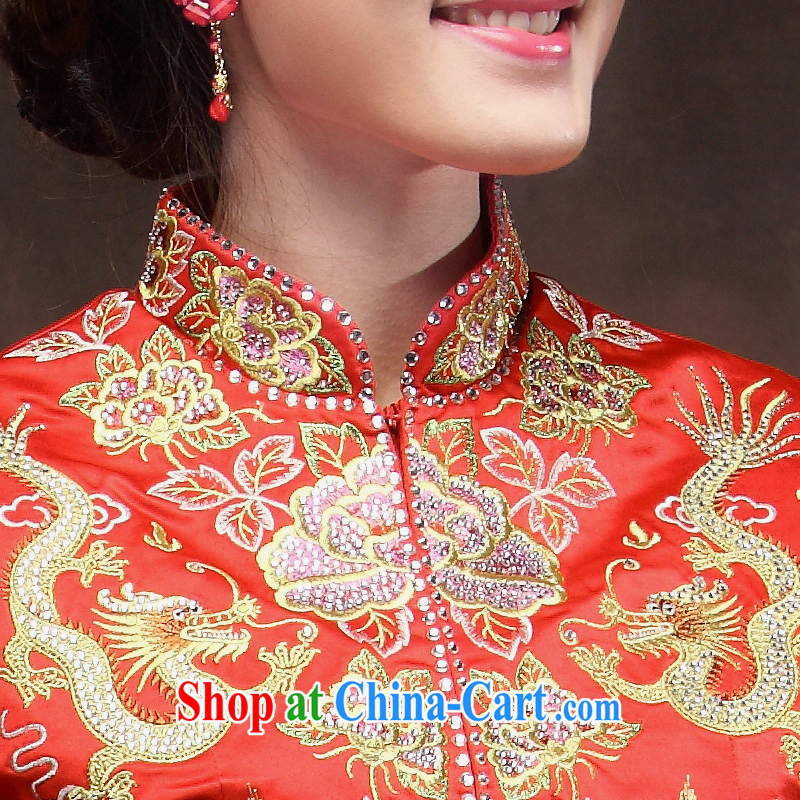 bridal dresses use Phoenix Chinese Antique bridal wedding dresses Sau Wo service Red Beauty of dress red XXL