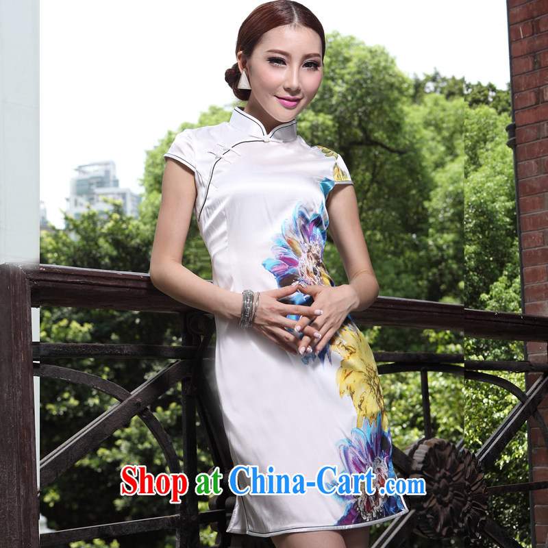 2014 New Silk Cheongsam sauna silk thin single-layer white sexy short improved stylish summer floral displays white carnations XXL