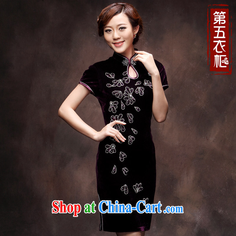 Plush robes 2014 new autumn wedding wedding large code beauty stylish MOM wedding Chinese qipao purple 4 XL