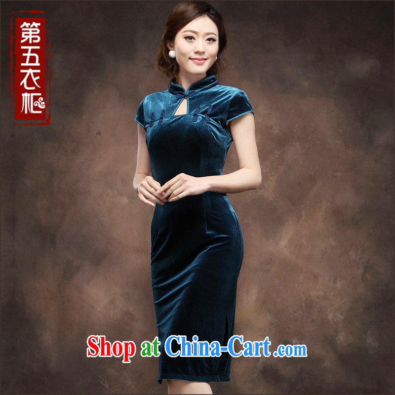 Velvet cheongsam dress short-sleeved summer 2014 new high quality large numbers in cultivating long name Yuan mother wedding dress blue XXXL