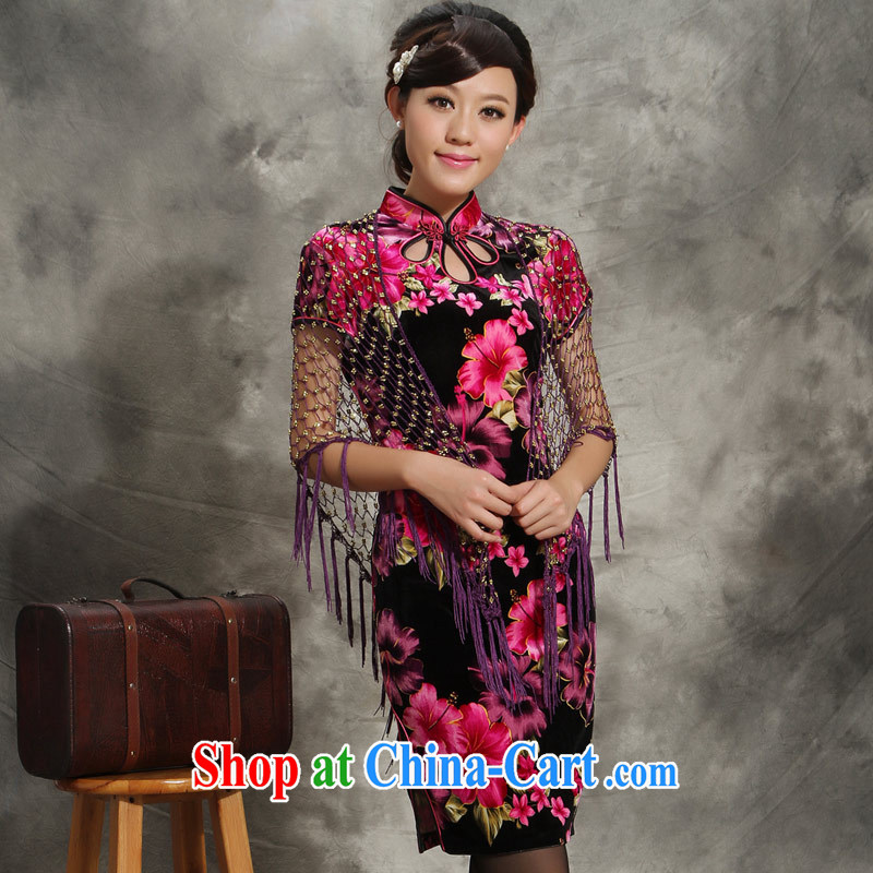 Velvet cheongsam dresses new 2014 summer wedding mom with short-sleeved retro dresses of 5541 saffron 4 XL