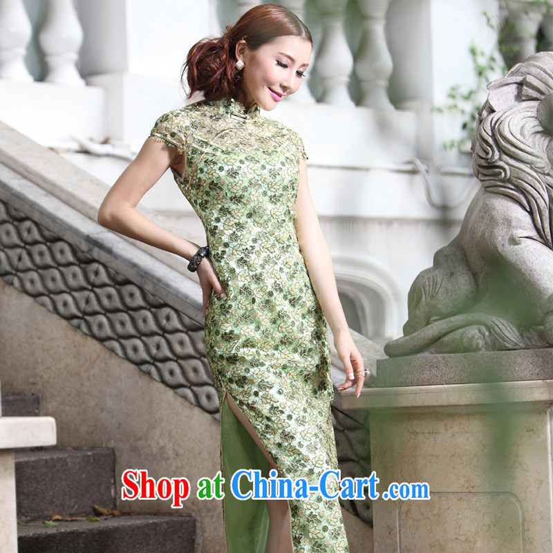 Chinese lace gold thread embroidery High quality long gown 2014 summer new wedding dresses mother dress Evening Dress green short 4 XL