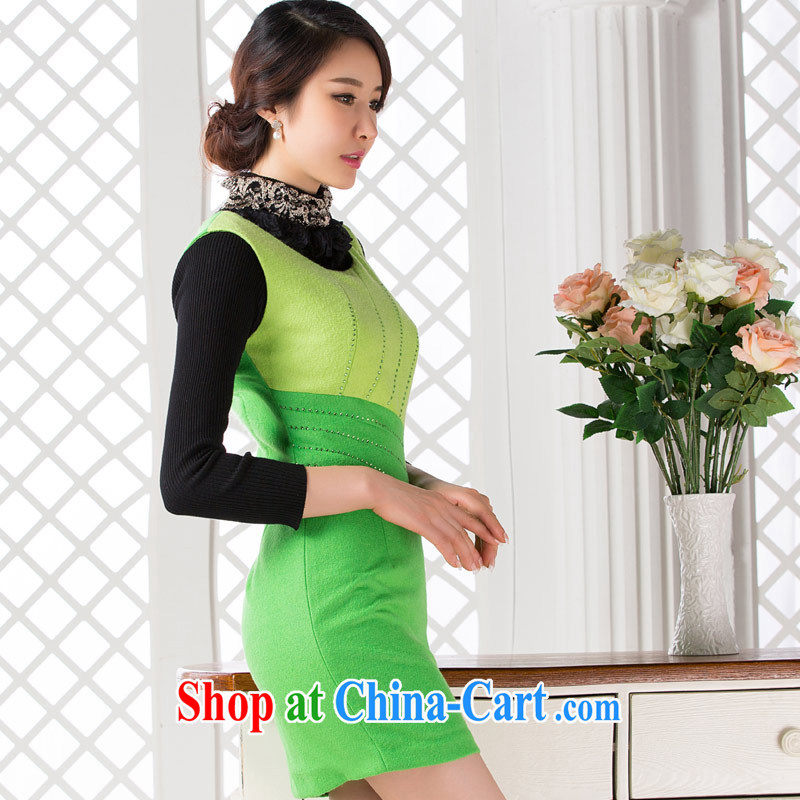 Winter Sweater Vest so as 2014 new embroidery beauty I aura sleeveless daily fashion improved lady dresses green XXL