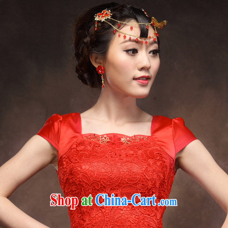 Toast clothing red bridal wedding dress improved stylish short dresses new married Yi lace back door red XXXL