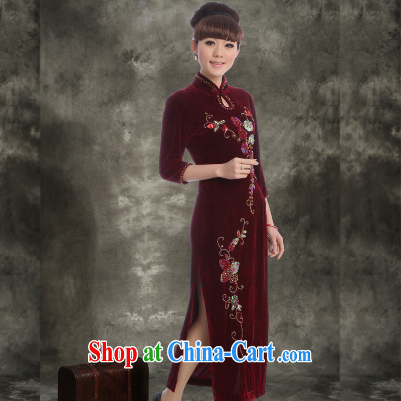 Velvet cheongsam qipao cuff in improved 2014 autumn is long, the Code Red MOM wedding with 5506 green XXXL