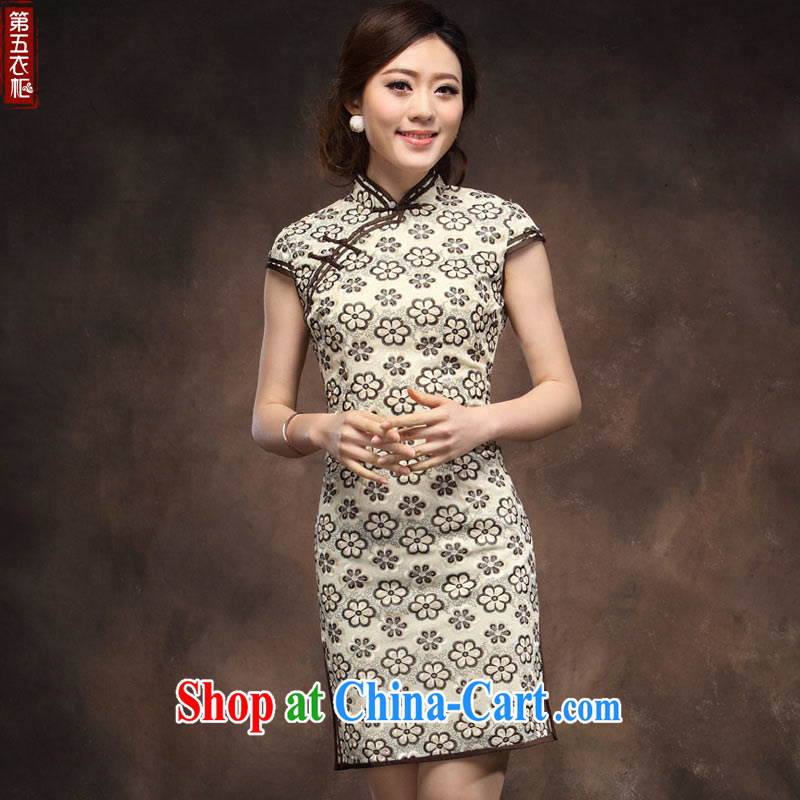 Chinese qipao retro improved summer dresses Chinese beauty is withholding wedding short the code MOM dress apricot XXXL