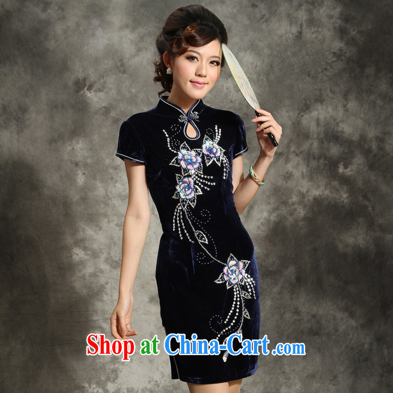 Dresses wool staple Pearl dresses wedding banquet middle-aged large code mom with short, short-sleeved gown 355 dark blue (no Cape) 4 XL