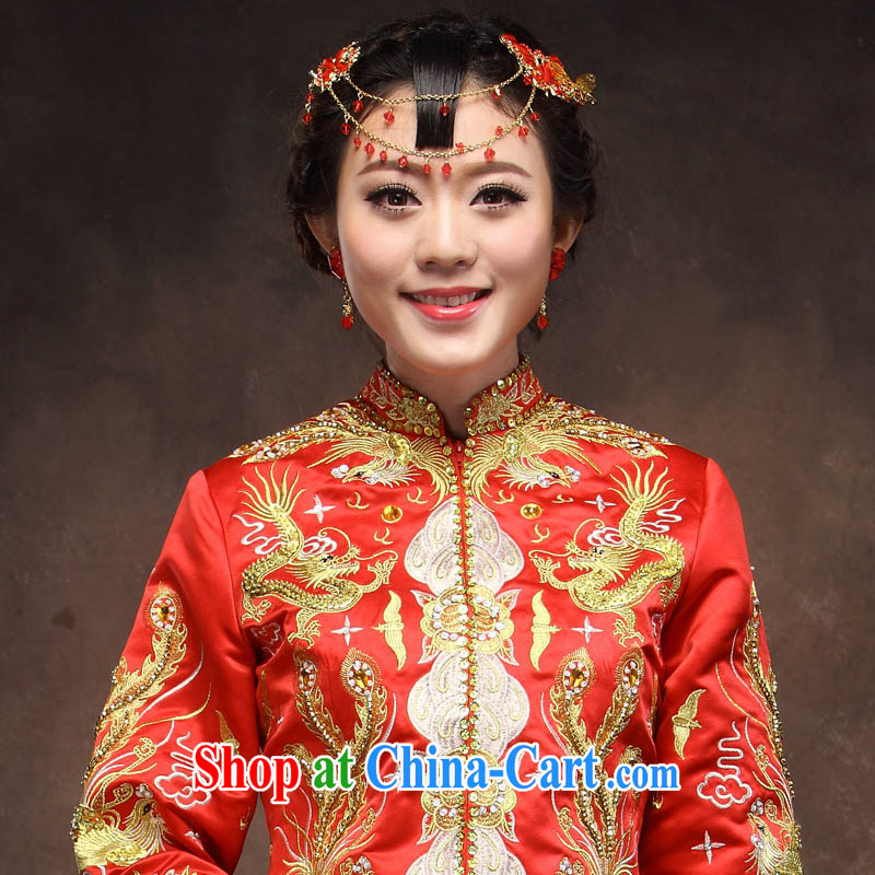 Toasting service 2014 new bridal red long Chinese Antique dress of gold and silver thread use phoenix marriage dresses red XXL