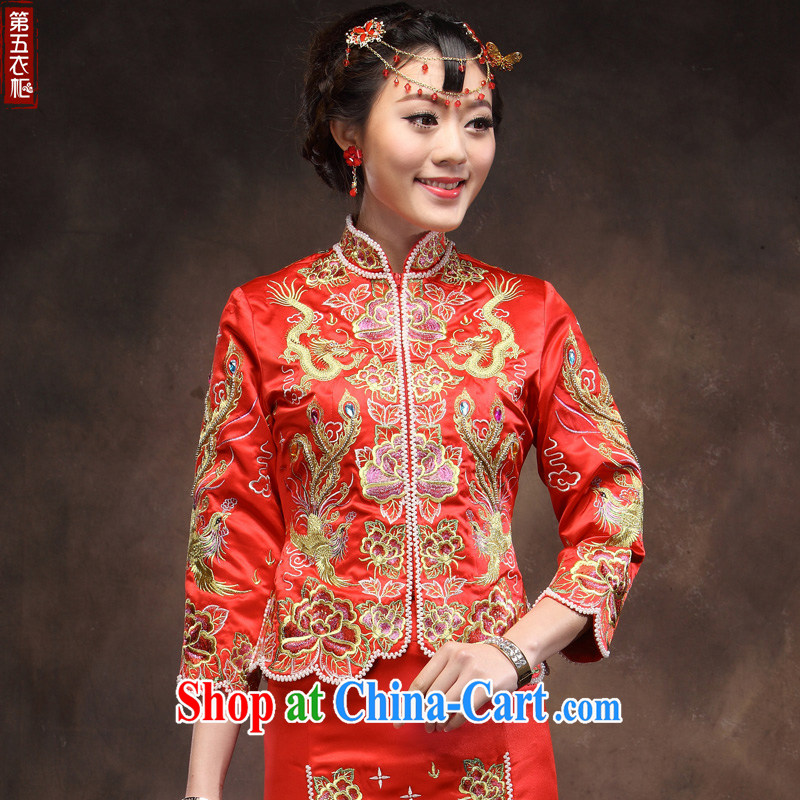 Toast serving marriages Red Gold and Silver Thread Phoenix cheongsam use manual show reel service dress and wedding dresses red XXL