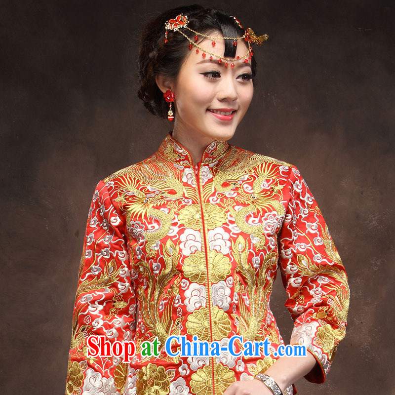 Toast clothing 2014 New Red marriage Silver Dragon line in use in 5 countries use retro married Yi Long cheongsam red XXL