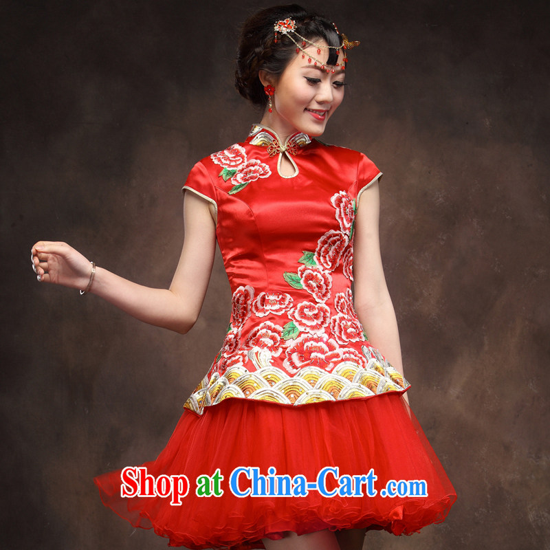 Toast serving red marriage Chinese Antique three-dimensional embroidery manually staple Pearl short cheongsam dress costumes red XXL