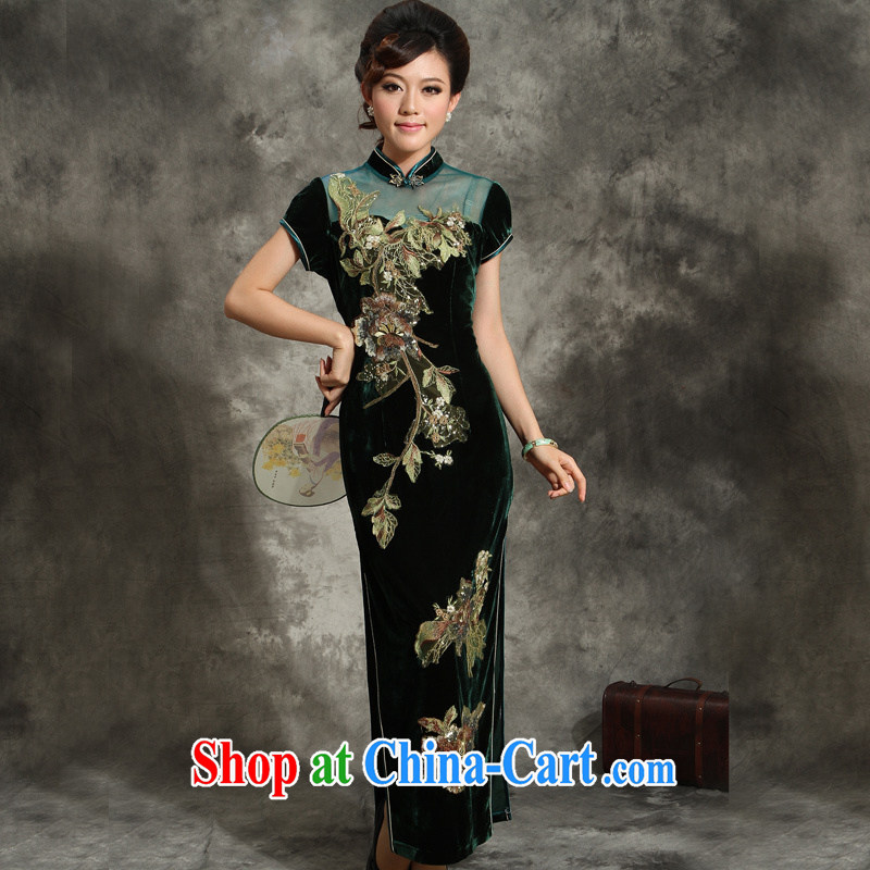 Velvet cheongsam dress improved Tang with long evening dress the cheongsam dress code in older wedding mom with purple (no shawl) XXXL