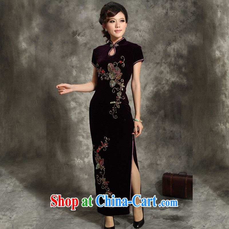 Velvet cheongsam qipao middle-aged large code wedding ceremony with her mother, how long the forklift truck retro flag skirt 356 purple 4 XL