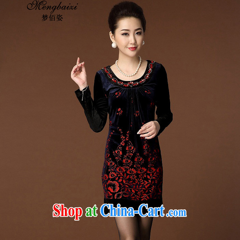 Let Bai colorful 2015 reload XL style Kim wool dresses stylish stamp middle-aged mother with QP #202 black 4 XL