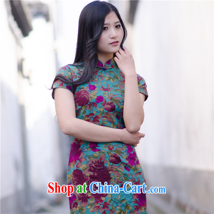 2014 new linen spring and summer improved stylish beauty and elegant antique Korea National Cotton mA short cheongsam dress suit XXL