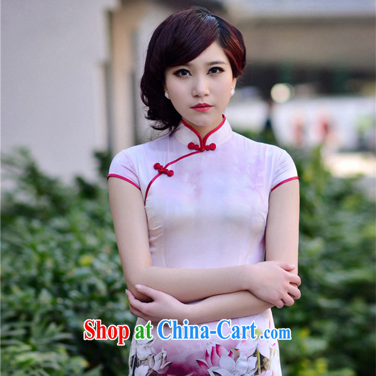 flouncing skirt, 2014 new heavy Silk Cheongsam upscale silk short-sleeved refined and elegant and stylish dresses violet S (7 days no reason for replacement)