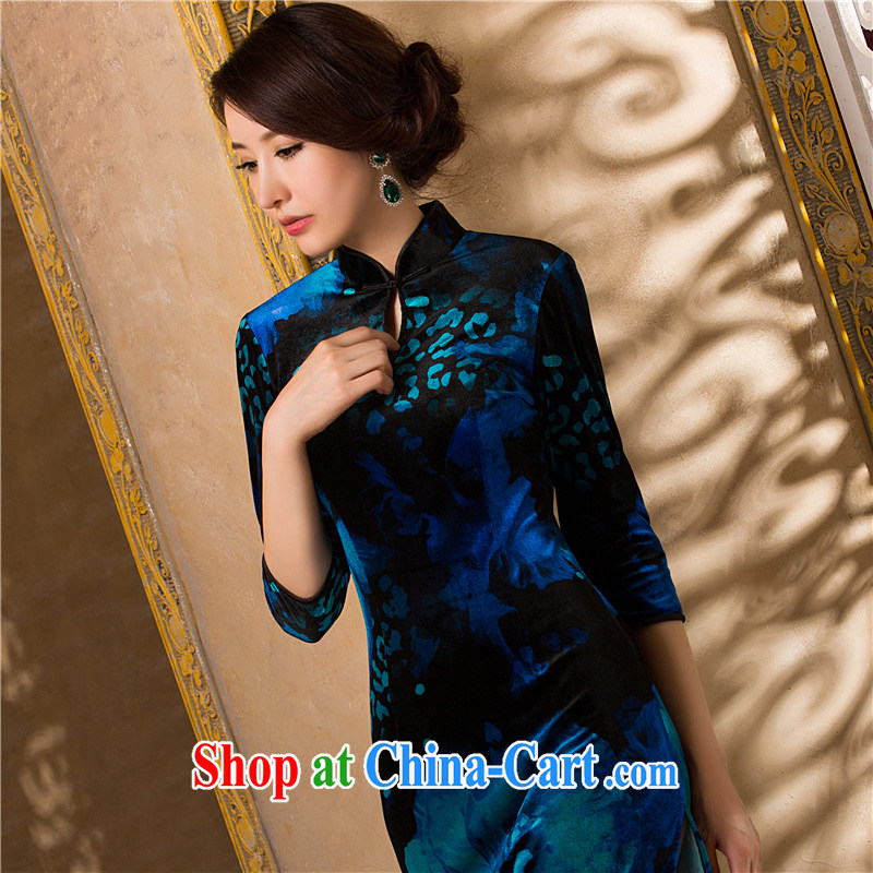 Night birds spring 2014 new gold velour in improving long-sleeved wedding dresses mother in long cheongsam dress blue _no lining_ XXXL