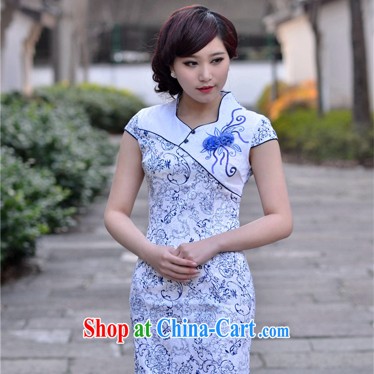 Summer 2014 New National wind Stylish retro minimalist College wind Chinese improved cultivating short-sleeve cheongsam dress light blue XXL