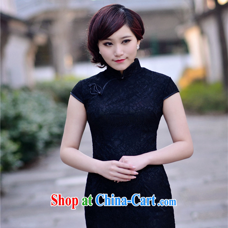2014 new black lace beauty sexy elegant refined antique Ethnic Wind, qipao dresses black XXL