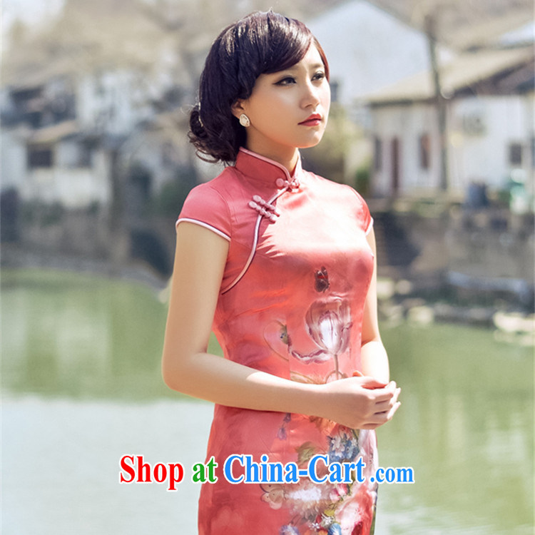 Red, light advisory committee 2014 new short Silk Cheongsam dress retro ethnic wind and stylish Ms. improved cheongsam red S