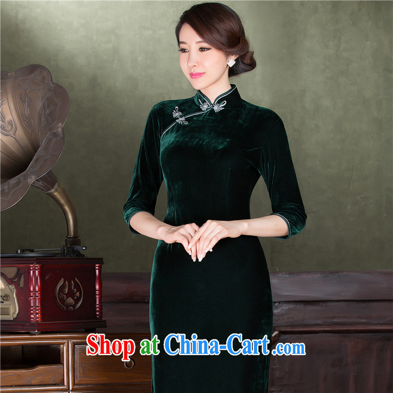 2014 fall_winter New Products gold velour long cheongsam improved retro elegance long-sleeved banquet Annual Meeting MOM black S