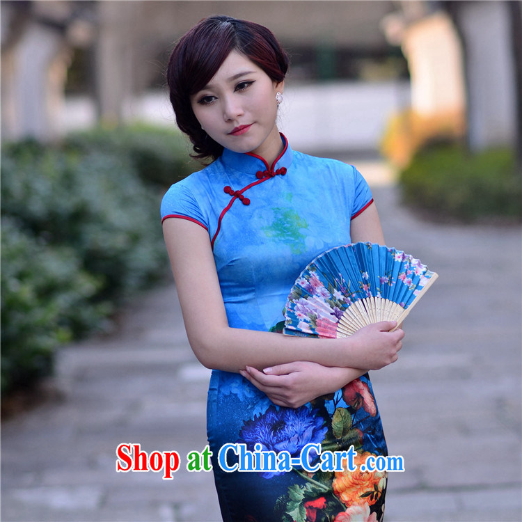 Blue demon-hee 2014 new retro Ethnic Wind and stylish everyday beauty short, simple and emulation Silk Cheongsam dress blue XXL (7 days no reason for RMA)