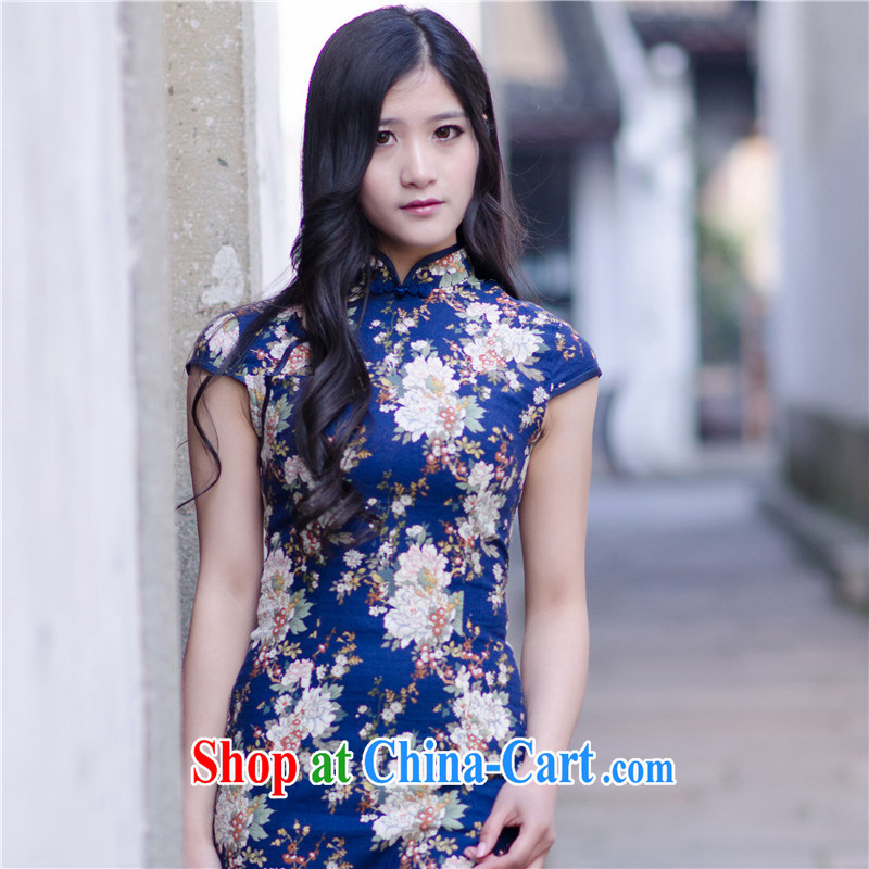 2014 new summer cotton Ma sexy cheongsam dress cultivating improved retro daily short stretch cheongsam dress blue floral M