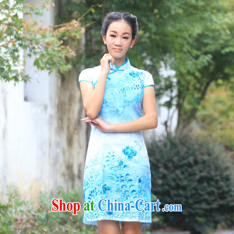 blue lotus trailers and refined embroidery high-end 2013 autumn and new national air-purifiers improved daily girl cheongsam dress blue lotus trailers figure XXL