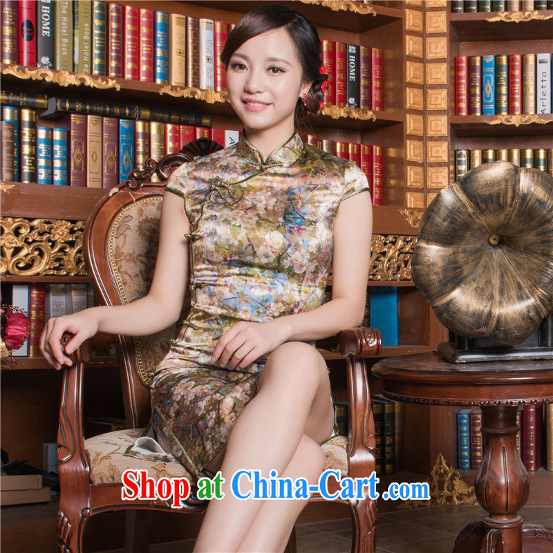Green cherry 2014 summer high-end female poster dresses ethnic wind elegant Chinese improved daily Silk Cheongsam dress green cherry S