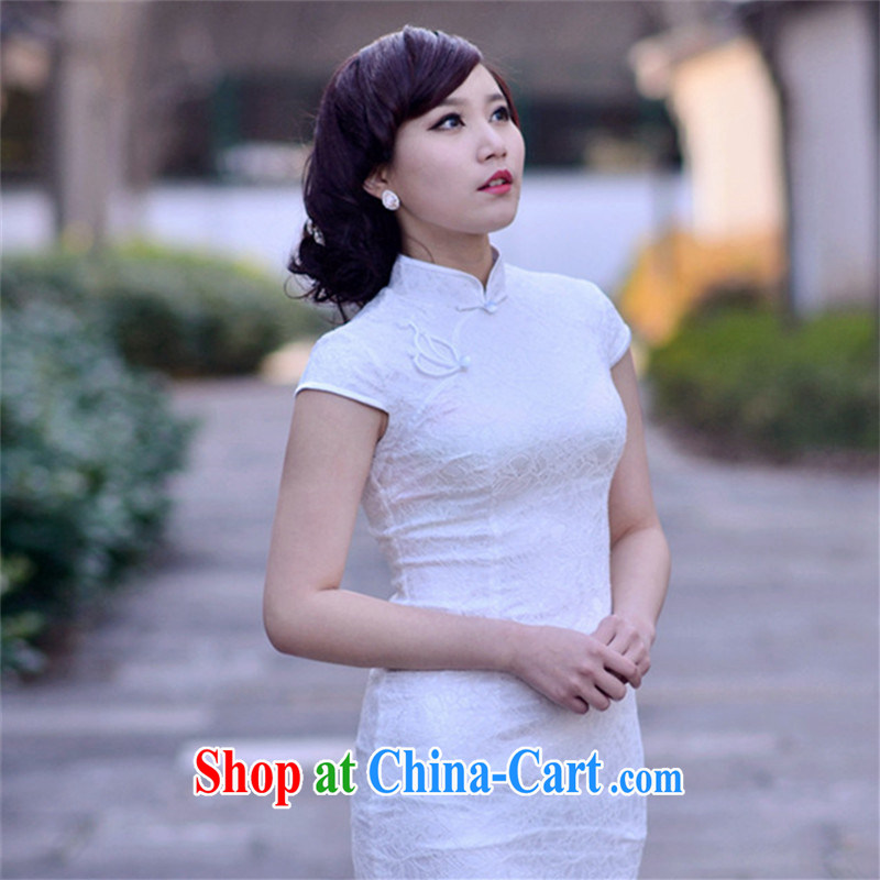 attractive lace 2014 new sexy lace simple beauty appointment banquet nation, Ms. wind cheongsam dress black S
