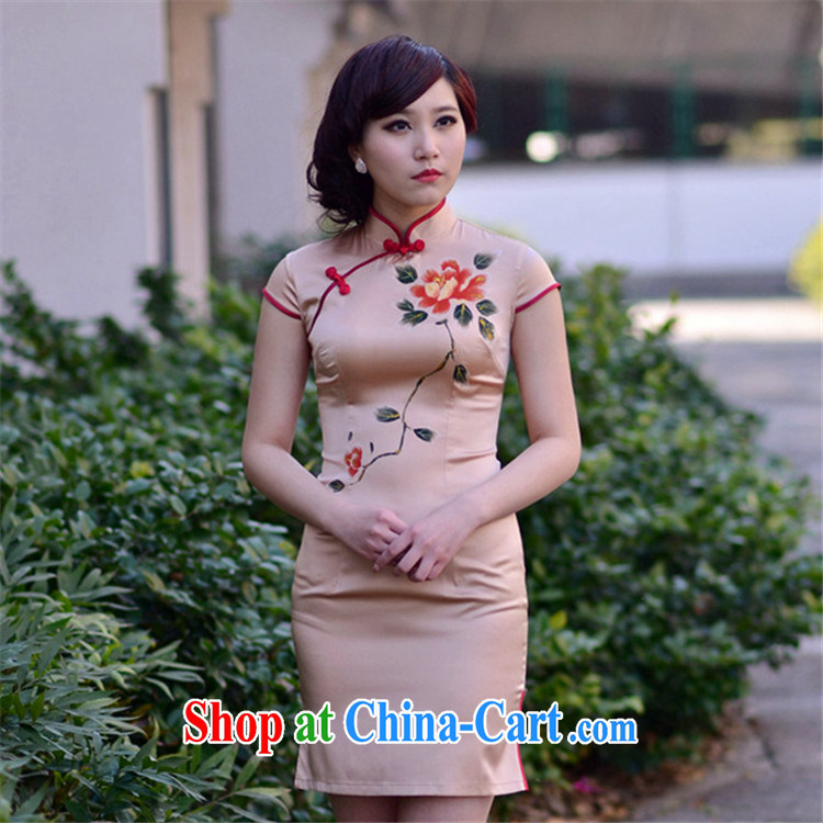 Peony Pavilion note 2014 new heavy silk high quality silk short-sleeved improved stylish retro ethnic wind outfit Brown S