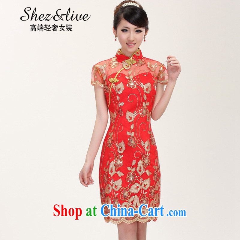 Shez &live autumn new bride toast wedding dress back doors female Chinese dinner dress cheongsam Chinese improved lace Openwork dresses red XXL