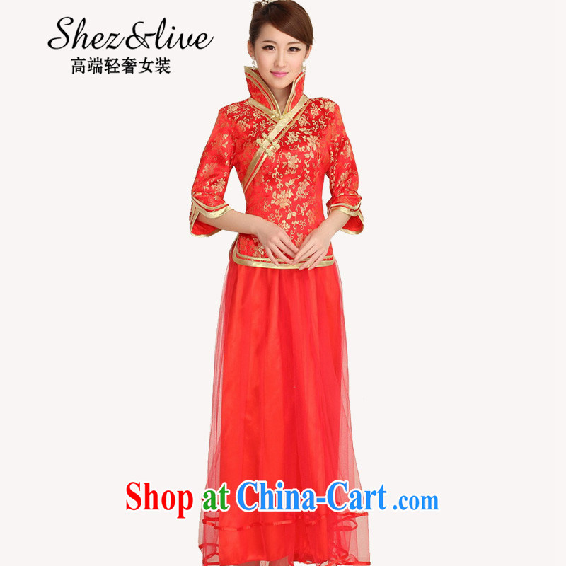 Shez &live autumn new bride toast wedding dress back doors female Chinese dinner dress cheongsam Chinese long improved cheongsam red XXL