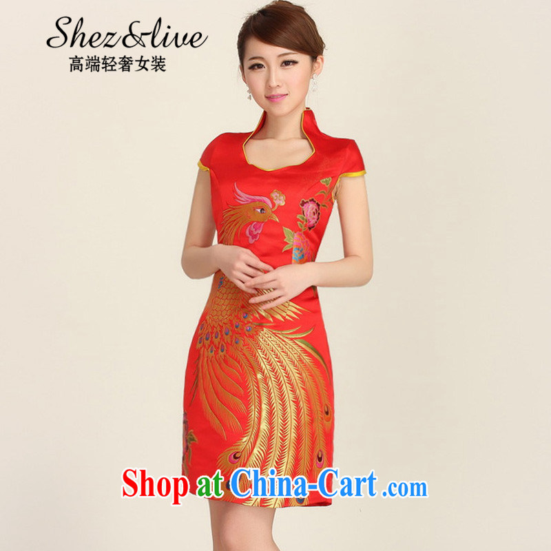 Shez &live autumn new bride toast wedding dress back doors new stylish cheongsam dress improved short dresses red dress red XXL
