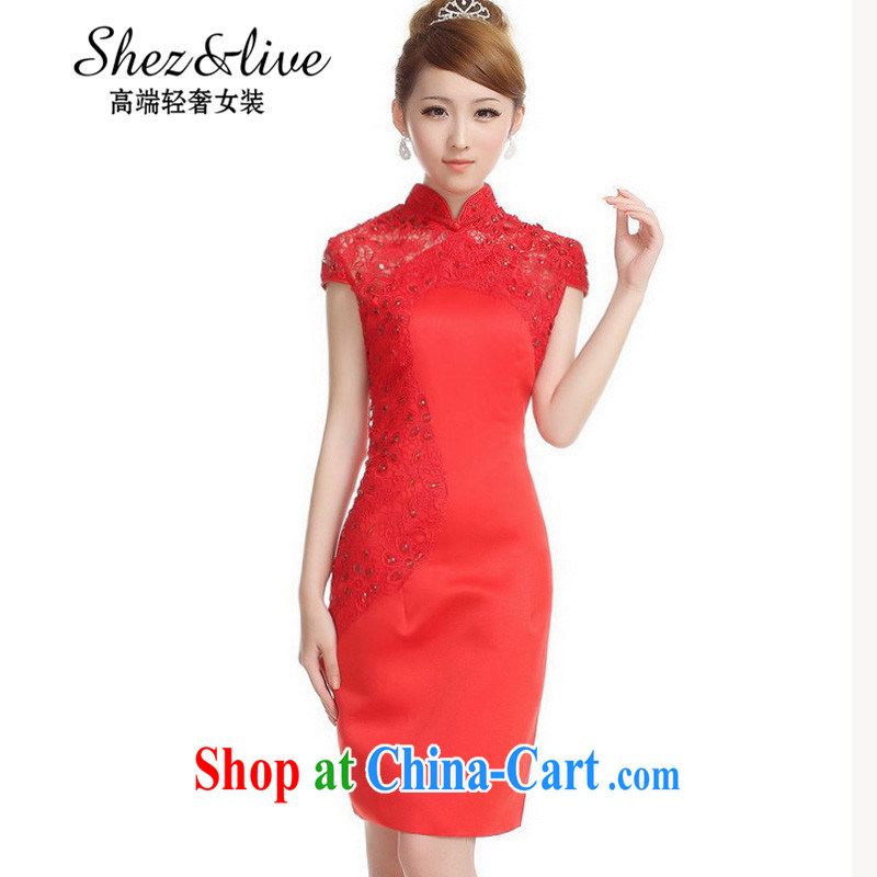 Shez &live autumn new bride toast wedding dress back doors dinner dress cheongsam Chinese improved cultivation lace cheongsam long red XXL