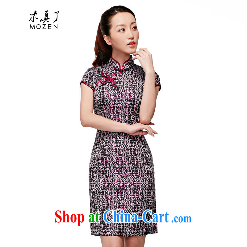 Wood is really a spring 2015 new Chinese, for classic short-sleeved qipao dresses 22,185 01 black XXL (B)