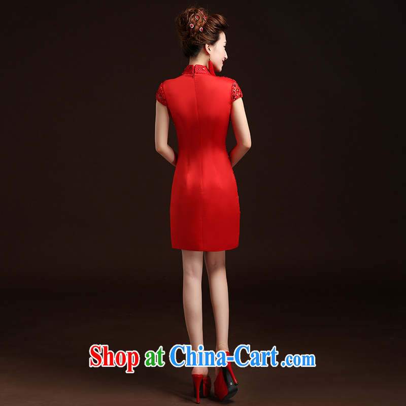 Qi wei summer 2015 New red short marriages served toast cheongsam Chinese, for cultivating package and improved bows service wedding dresses red S, Qi wei (QI WAVE), online shopping