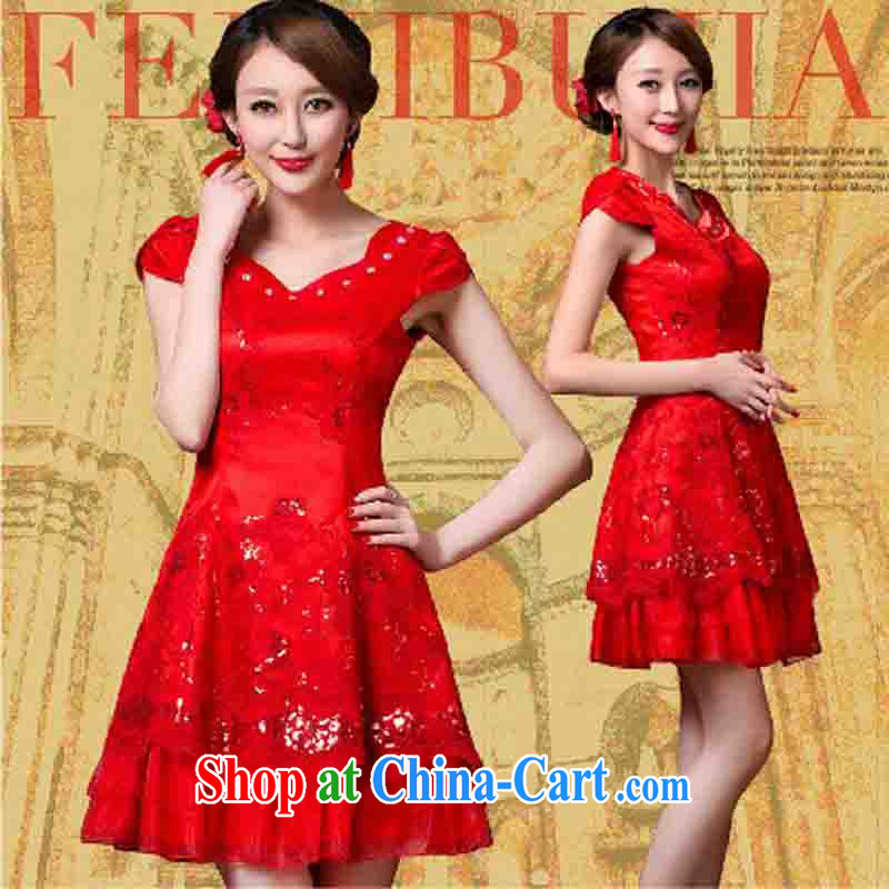Non-you don't marry summer red wedding dress bridal short lace bows serving Chinese improved retro dresses dresses L