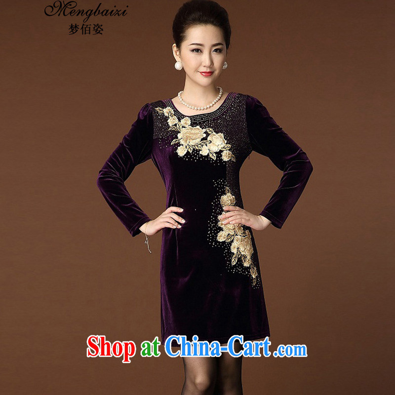 Let Bai colorful 2015 new middle-aged and older embroidery gold velour large, long-sleeved upscale dresses QP 204 #6 purple XL
