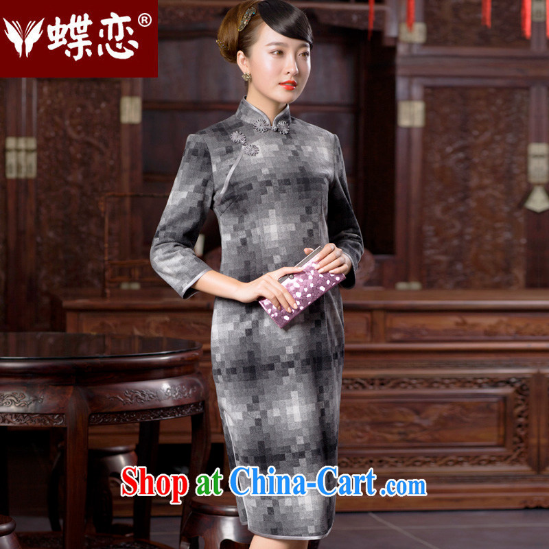 Butterfly Lovers 2015 spring new improved stylish 7 cuff cheongsam dress retro long Chinese qipao dress 49,054 gray mosaic XXL
