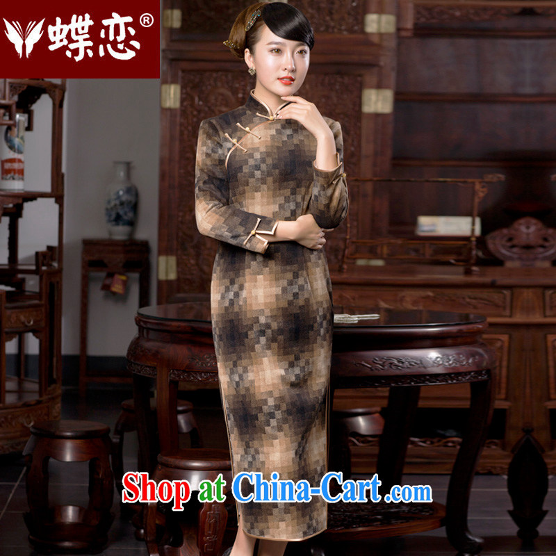 Butterfly Lovers 2015 spring new retro style cheongsam dress daily fashion improved long cheongsam dress and 49,060 color mosaic XXL
