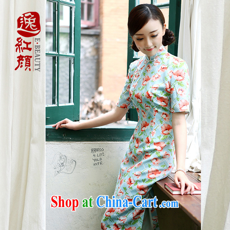 once and for all and fatally jealous autumn leaves stamp emulation the cheongsam dress autumn is improved and stylish beauty cheongsam dress retro Green S