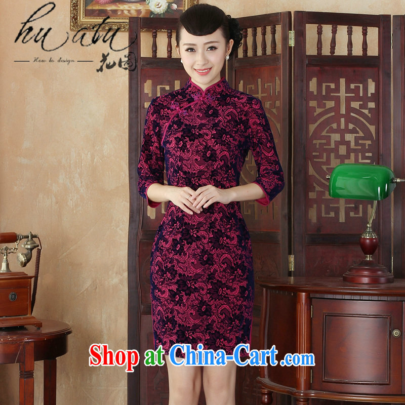 spend the winter new daily and noble lady, for wool dresses retro improved fashion, long-sleeved dresses skirts 02 XL