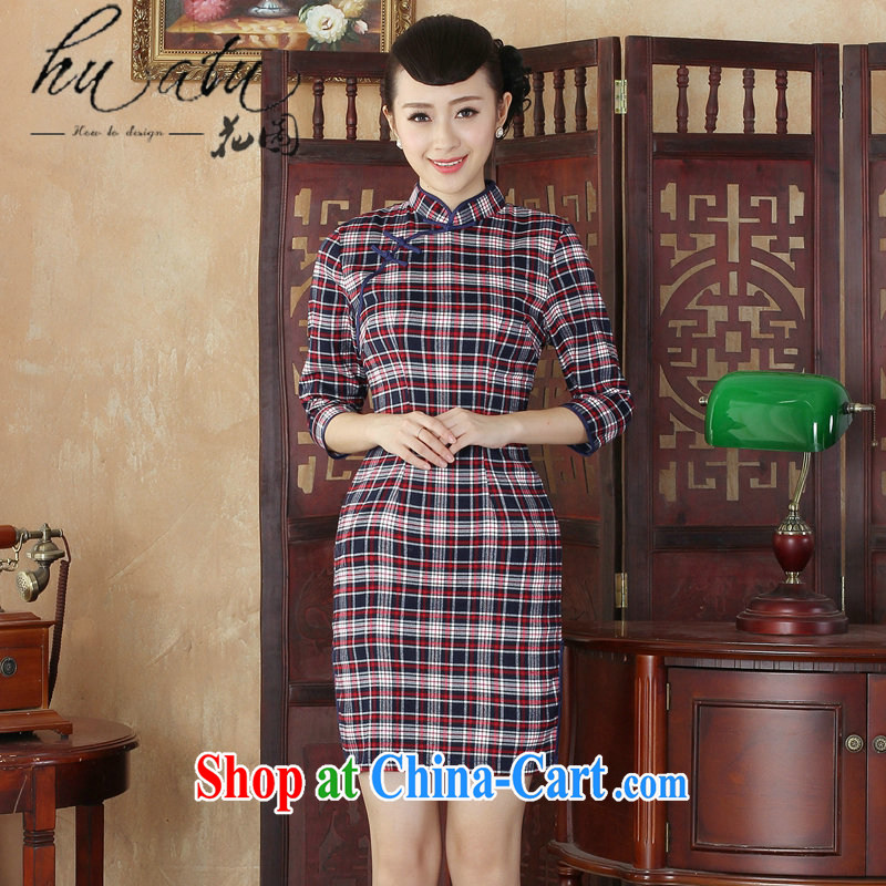 Take the 2014 autumn new girls cotton cheongsam dress, collar aura grid Korea retro improved day-cuff in cheongsam picture color 2 XL