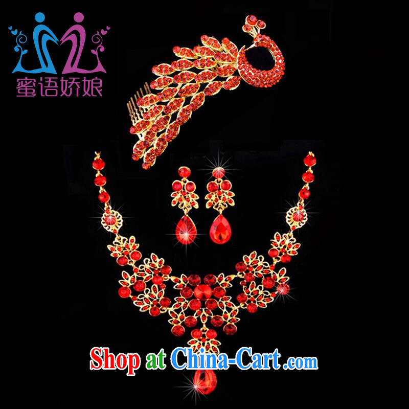 Honey, bride 2015 New Red jewelry necklace earrings Crown Kit bridal wedding dresses toast clothing accessories