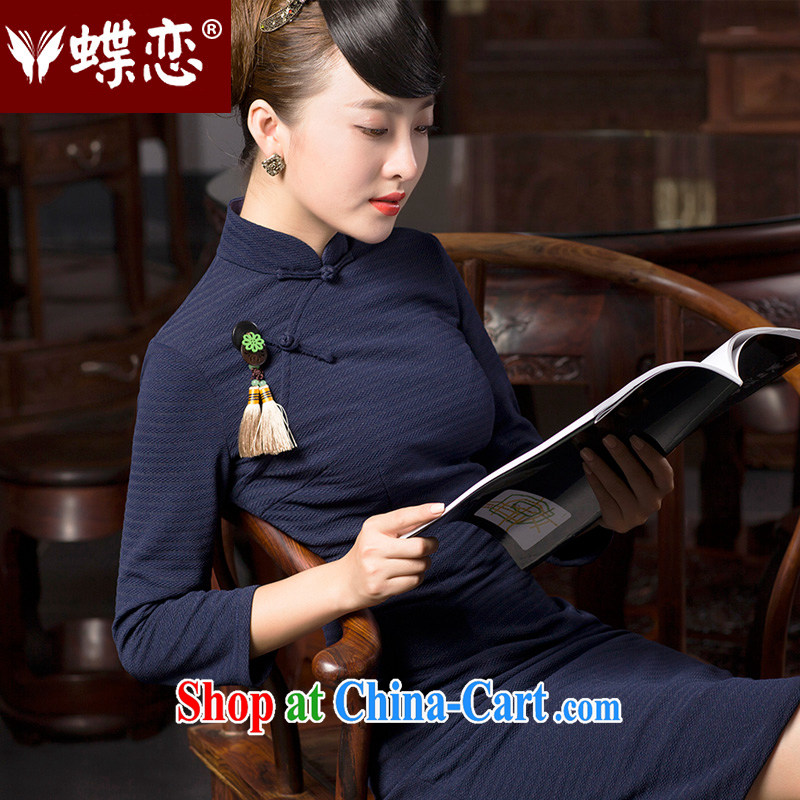 Butterfly Lovers 2015 spring new stylish improved temperament cheongsam dress retro elegant Chinese qipao 49,065 Tibetan cyan M
